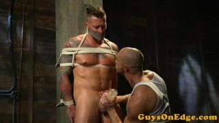 Inked sub tied up jerked and toyed for edging 10 min