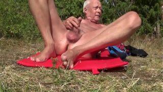 Norwegian daddy on a public beach